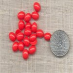 42 VINTAGE FIRE ENGINE RED 10X8mm OVAL CABOCHONS