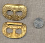 7 VINTAGE BRASS EGYPTIAN HOLED CLIP 58mm OVAL FINDINGS