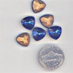 24 VINTAGE SAPPHIRE GLASS TRI SHIELD 12mm GEMS