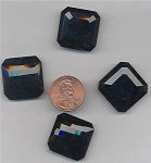 6 VINTAGE GLASS JET SQUARE 22mm JEWELS