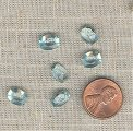 24 VINTAGE GLASS AQUAMARINE 9x7mm. OVAL GEM JEWELS