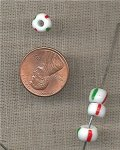 100 VINTAGE GLASS RED GREEN WHITE STRIPE CANDY CANE TIRE BEADS