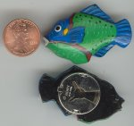 6 VINTAGE HANDPAINTED BLUE GREEN FISH BUTTON COVER
