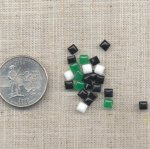 100 VINTAGE ASST, 4mm SQUARE GLASS JEWELS