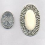 6 VINTAGE GENUINE BONE 45X38mm OVAL FILIGREE BORDER FINDINGS