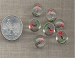 7 VINTAGE GLASS GOLFER SPORT CRYSTAL 13MM CAMEOS