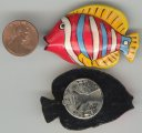 6 VINTAGE HANDPAINTED STRIPED FISH BUTTON COVERS