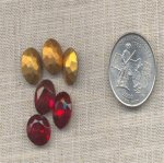 12 VINTAGE RUBY 12X10mm GLASS OVAL JEWELS