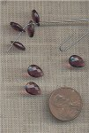 26 VINTAGE GLASS AMETHYST 10x7mm. FACETED DROP CHARMS