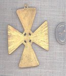 2 VINTAGE GOLD FORMEE CROSS 68mm PENDANTS