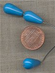 36 VINTAGE GLASS 16x9mm TURQUOISE DROP BEADS