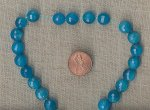 6 VINTAGE GENUINE BLUE QUARTZ FACETED 10mm ROUND BEADS