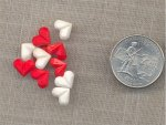 22 VINTAGE RED WHITE 10X8mm GLASS HEART JEWELS