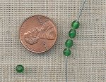 200 VINTAGE GLASS 4mm. EMERALD ROUND BEADS