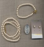 VINTAGE PEARL BRACELET, EARRING & NECKLACE SET