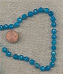 6 VINTAGE GENUINE BLUE QUARTZ FACETED 8mm. ROUND BEADS