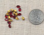 36 VINTAGE AUSTRIAN SIAM RUBY MIX 6X4mm OVAL GEMS