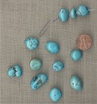 6 VINTAGE GENUINE TURQUOISE 10-23mm. BAROQUE BEADS