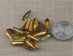 12 VINTAGE TOPAZ OLIVINE 15X5mm GLASS PENTA JEWELS