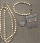 "VINTAGE PEARL BRACELET EARRING 24"" NECKLACE SET"