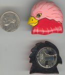 6 VINTAGE HANDPAINTED PINK BIRD BUTTON COVERS