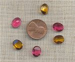 24 VINTAGE GLASS ASST ROSE TOPAZ 10x8mm OVAL GEM JEWELS