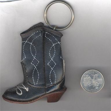 1 VINTAGE JET PLEATHER SEWN COWBOY BOOT KEYCHAIN
