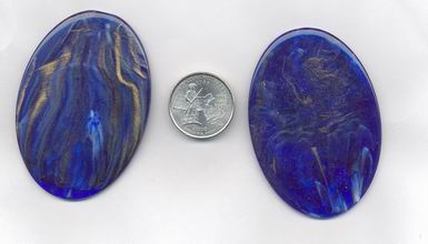 6 SAPPHIRE MARBLIZED GOLD 69X48mm OVAL LUCITE PLAQUES