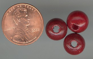 200 VINTAGE RED ROUND WOOD 10mm LARGE HOLE BEAD