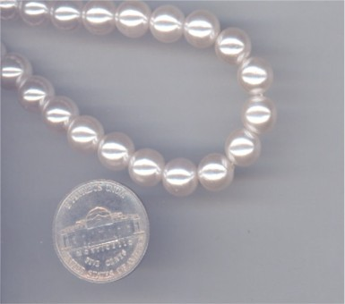 265 VINTAGE PEARL 6mm ROUND BEADS - 1 STRAND
