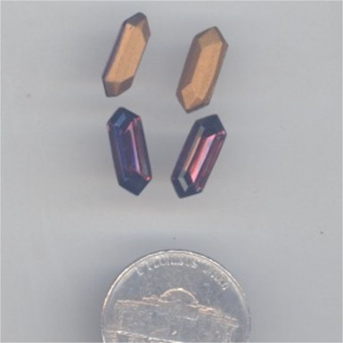 24 VINTAGE GLASS AMETHYST 13X5mm DIAMOND GEMS - Click Image to Close