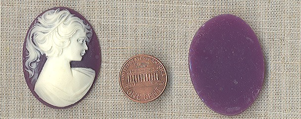 3 VINTAGE PURPLE VICTORIAN LADY HEAD 40x30mm CAMEOS