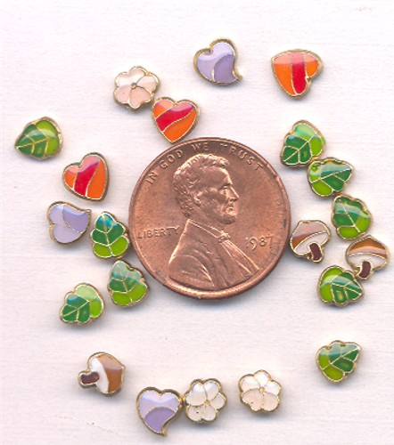 36 VINTAGE ANTIQUE NATURE HEARTS ENAMEL 6X5mm. PLAQUES