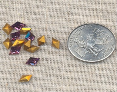 12 VINTAGE AUSTRIAN AMETHYST 8X5.5mm DIAMOND JEWELS