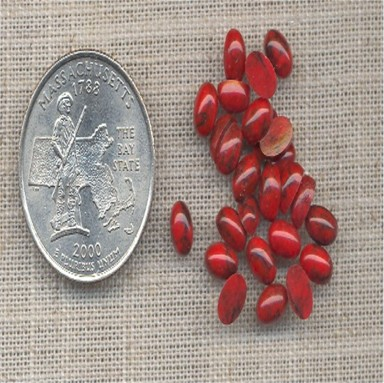 100 VINTAGE RED MATRIX 6mm ROUND CABOCHONS - Click Image to Close