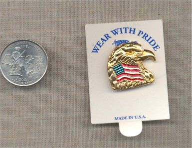 1 GOLD 24X23mm EAGLE HEAD W/ AMERICAN FLAG INBED PIN
